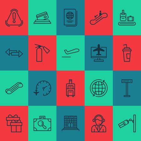Traveling icons set with escalator, gift box, bag conveyor and other world elements. Isolated illustration traveling icons. Banco de Imagens