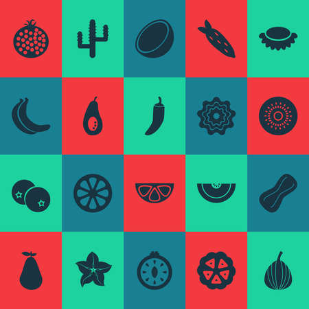 Vegetable icons set with cocoa beans, kiwifruit, banana and other food elements. Isolated illustration vegetable icons. Banco de Imagens