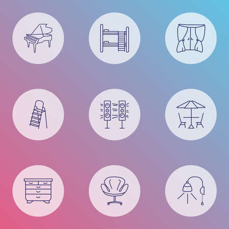 Furniture icons line style set with double decker bed, drawer unit, curtain and other drape elements. Isolated vector illustration furniture icons. Vector Illustratie