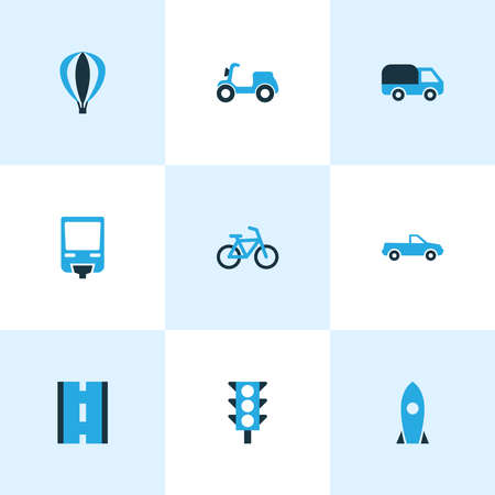 Transport icons colored set with pickup, traffic light, road and other scooter elements. Isolated vector illustration transport icons. Ilustração