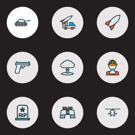 Army icons colored line set with gun, military helicopter, soldier and other military elements. Isolated vector illustration army icons.
