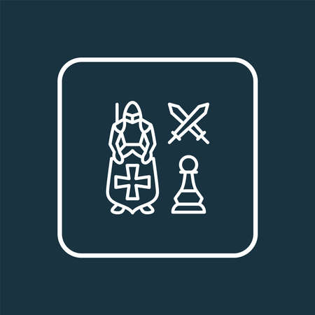 Leadership icon line symbol. Premium quality isolated knight against pawn element in trendy style. Ilustração