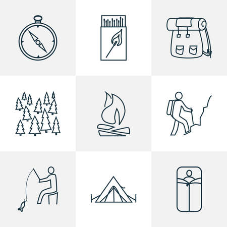 Tourism icons line style set with fishing, forest, hiking man and other matches elements. Isolated vector illustration tourism icons.