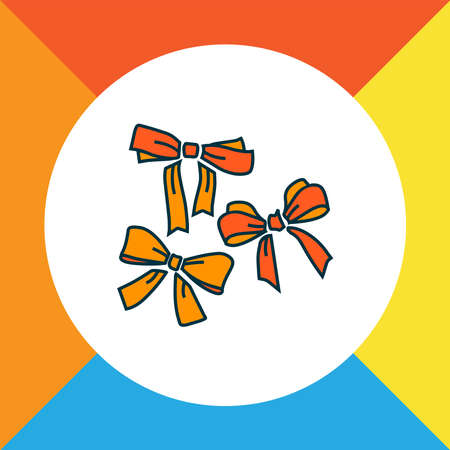 Festive bow icon colored line symbol. Premium quality isolated ribbon element in trendy style.
