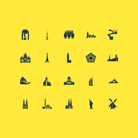 Tourism icons set with alcatraz, piazza del campo, big ben and other italian town elements. Isolated vector illustration tourism icons.