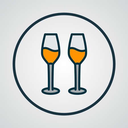 Wine glasses icon colored line symbol. Premium quality isolated cabernet element in trendy style. Ilustração