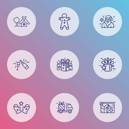 Holiday icons line style set with champagne, gift delivery, small hut and other fizz elements. Isolated vector illustration holiday icons. Ilustração