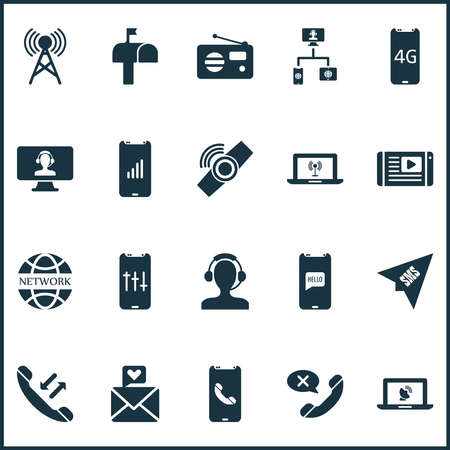 Telecommunication icons set with 4g smartphone, communication tower, call back and other assistant elements. Isolated vector illustration telecommunication icons.