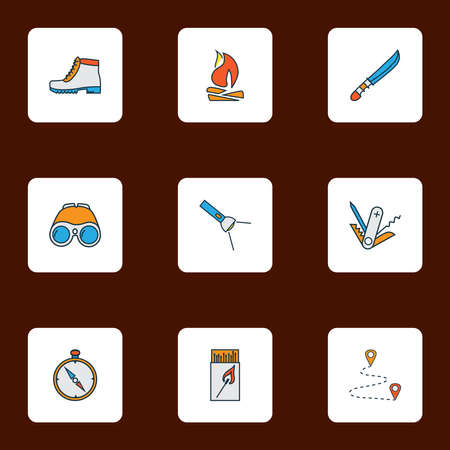 Camping icons colored line set with camping boots, flashlight, binoculars and other route elements. Isolated illustration camping icons. Imagens