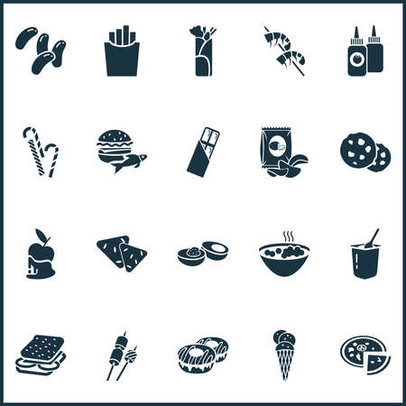 Food icons set with chocolate cookie, chips, caramelized apple and other roasting elements. Isolated illustration food icons.