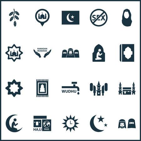 Ramadan icons set with people, prayer, azan and other hejaz elements. Isolated illustration ramadan icons.