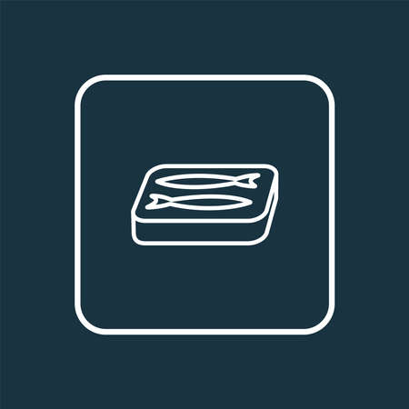 Sardine icon line symbol. Premium quality isolated canned fish element in trendy style.