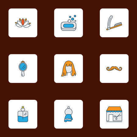 Salon icons colored line set with barbershop, straight razor, cologne spray and other peeper elements. Isolated illustration salon icons.