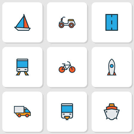 Shipment icons colored line set with sail boat, moped, bike and other spaceship elements. Isolated illustration shipment icons. Imagens