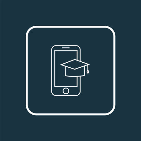 Mobile learning icon line symbol. Premium quality isolated smartphone element in trendy style.