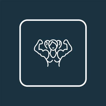 Bodybuilder woman icon line symbol. Premium quality isolated sportswoman element in trendy style.