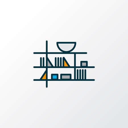 Wall shelf icon colored line symbol. Premium quality isolated bookshelf element in trendy style.