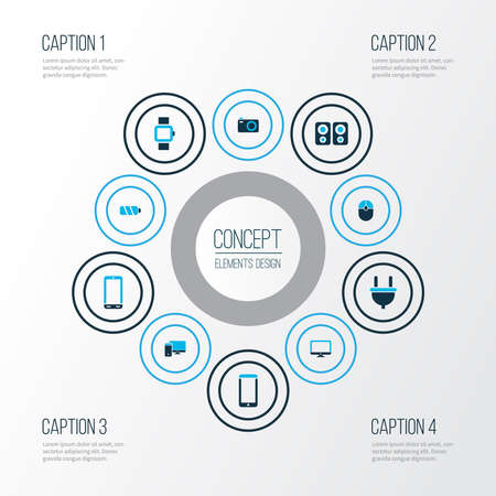 Gadget icons colored set with computer, camera, smart watch and other charger elements. Isolated illustration gadget icons. Imagens