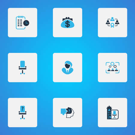 Job icons colored set with problem solving, cooperation, long-term plan and other timeline elements. Isolated illustration job icons.