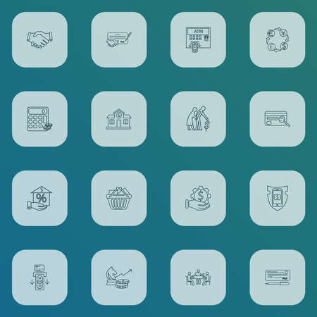 Financial icons line style set with handshake, secure payment, finance calculator setting elements. Isolated illustration financial icons.