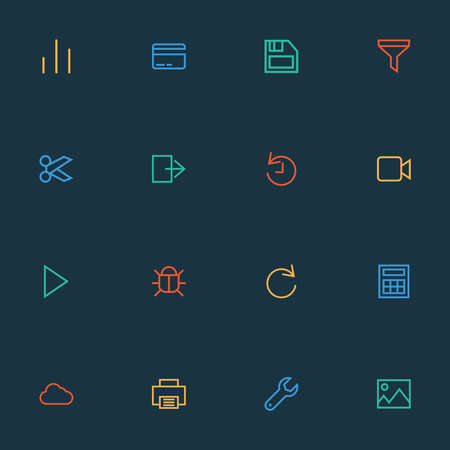 Interface icons line style set with virus, column, picture and other chart elements. Isolated illustration interface icons.