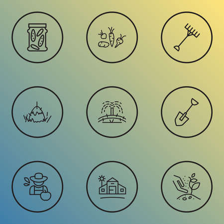 Gardening icons line style set with farm house, hay bale, farmer and other vegetable elements. Isolated vector illustration gardening icons.