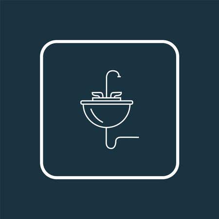 Sink icon line symbol. Premium quality isolated washbasin element in trendy style. 向量圖像