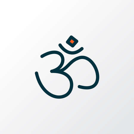 Hinduism icon colored line symbol. Premium quality isolated om element in trendy style.