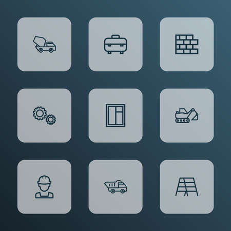 Architecture icons line style set with cement vehicle, digger, wall and other tipper elements. Isolated vector illustration architecture icons.