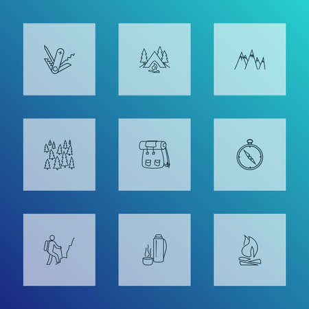 Tourism icons line style set with bonfire, backpack, compass and other tree elements. Isolated vector illustration tourism icons.