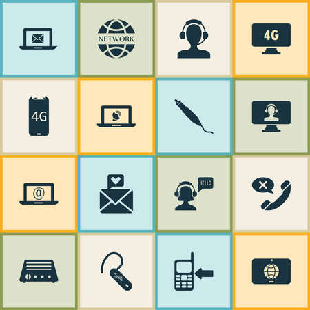 Communication icons set with 4g smartphone, messaging, mail on laptop and other fm elements. Isolated vector illustration communication icons.