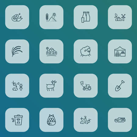 Farming icons line style set with farm house, eco farming, root crop and other meadow elements. Isolated vector illustration farming icons.