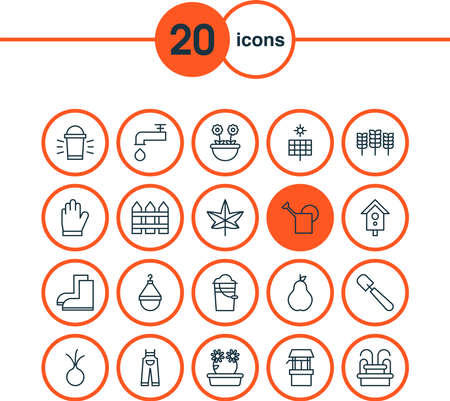 Farm icons set with leaf, solar panel, pail and other bucket elements. Isolated vector illustration farm icons.