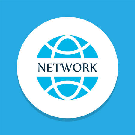 Network communications icon colored symbol. Premium quality isolated globe element in trendy style.