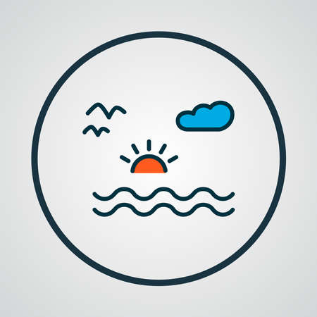 Sea landscape icon colored line symbol. Premium quality isolated nature element in trendy style.