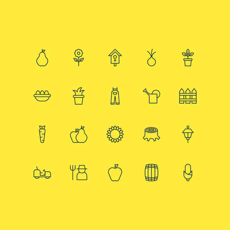Farm icons set with flowerpot, plant pot, carrot and other bloom elements. Isolated illustration farm icons.