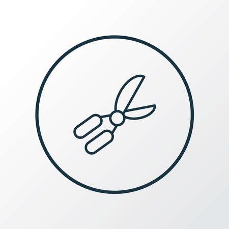 Gardening scissors icon line symbol. Premium quality isolated pruner element in trendy style. 版權商用圖片