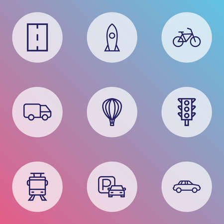 Transportation icons line style set with bicycle, caravan, trolley and other streetcar elements. Isolated illustration transportation icons.