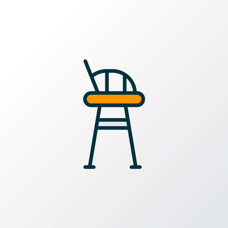Tall chair icon colored line symbol. Premium quality isolated stool element in trendy style.
