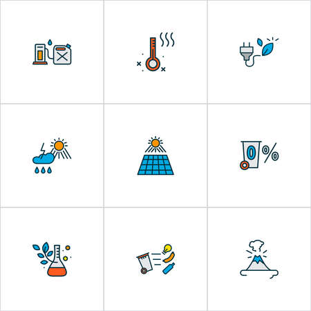 Ecology icons colored line set with waste separation, zero waste, volcano and other temperature measurement elements. Isolated illustration ecology icons. 版權商用圖片