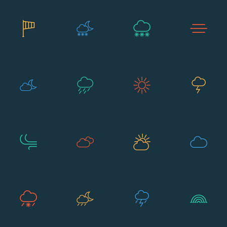 Weather icons line style set with blizzard, fog, breeze and other snowy raining elements. Isolated illustration weather icons. 版權商用圖片