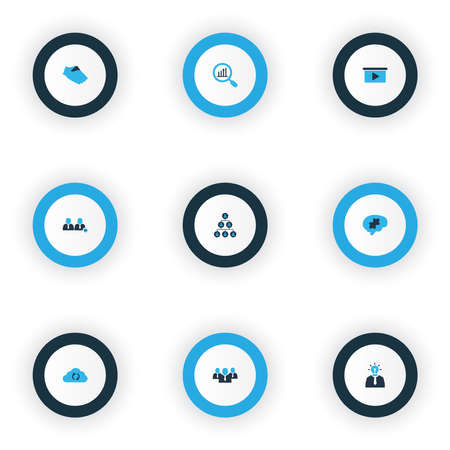 Job icons colored set with presentation, cloud sync, hierarchy and other research elements. Isolated illustration job icons. 版權商用圖片