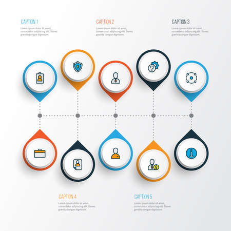 Work icons colored line set with information, privacy, sharing and other cv elements. Isolated illustration work icons.