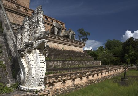 mai: Architectural of Chediluang temple in Chiang Mai  Thailand