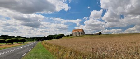 provincial: The French solar and colourful provincial landscape with rural church. Stock Photo