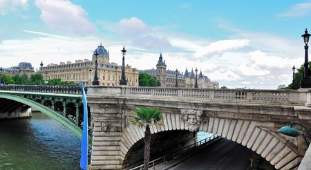 jailhouse: Day view of the Conciergerie (old gothic jailhouse) and the Seine river - Paris, France Stock Photo