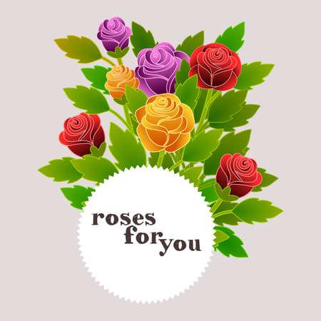 Bloemenkaart met rozen op grijze achtergrond