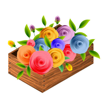 Box with stylized roses