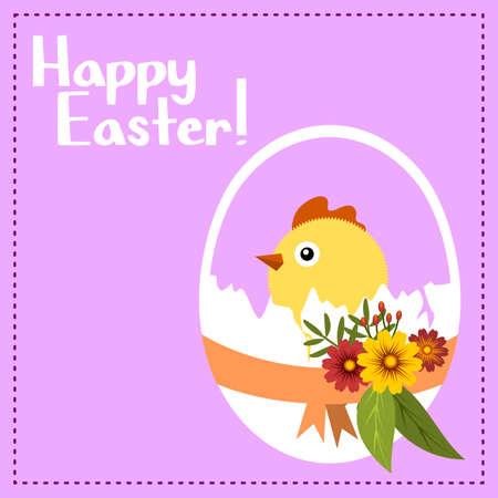 Paarse kaart voor Pasen, met een ei en kuiken en bloemen