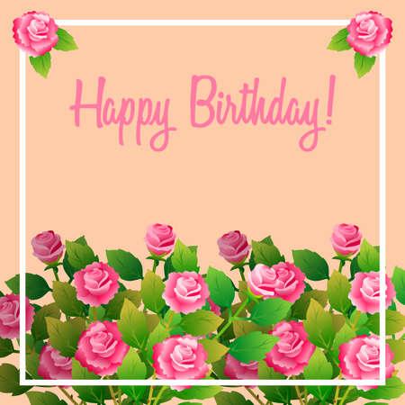幸せな誕生日メッセージと花のフレームフィスバラ
